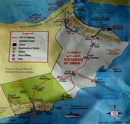 خريطة الطريق من البريمي الى صلاله