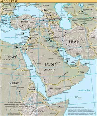 خريطة الشرق الاوسط