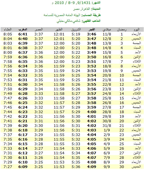 امساكيات شهر رمضان المبارك لعام 1431هـ في معظم دول العالم - من تجميعي 6312