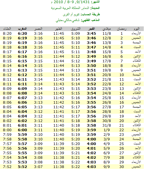 امساكية رمضان ل جميع الدول