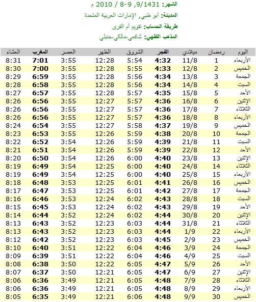 امساكيات شهر رمضان المبارك لعام 1431هـ في معظم دول العالم - من تجميعي 6337