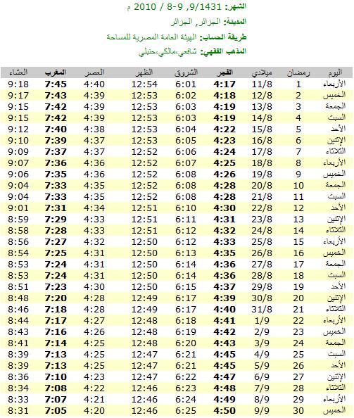 امساكيات شهر رمضان المبارك لعام 1431هـ في معظم دول العالم - من تجميعي 6379
