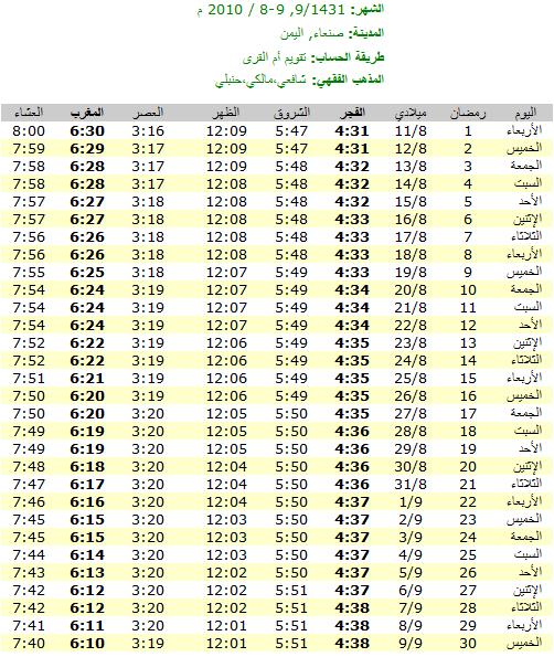 امساكيات شهر رمضان المبارك لعام 1431هـ في معظم دول العالم - من تجميعي 6385