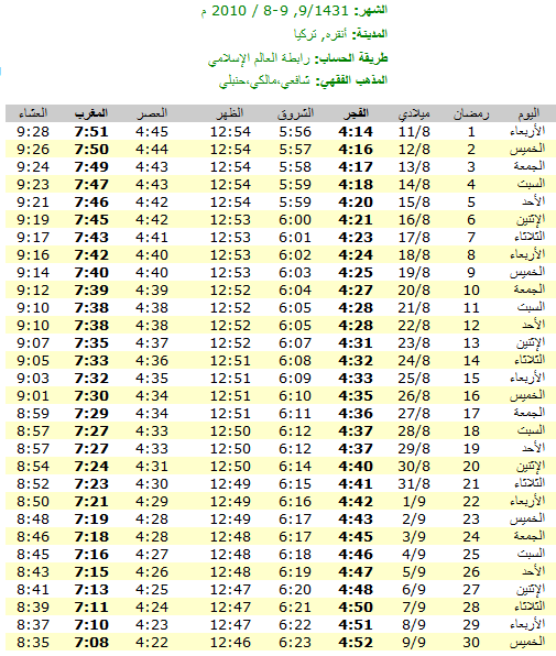 امساكيات شهر رمضان المبارك لعام 1431هـ في معظم دول العالم - من تجميعي 6657